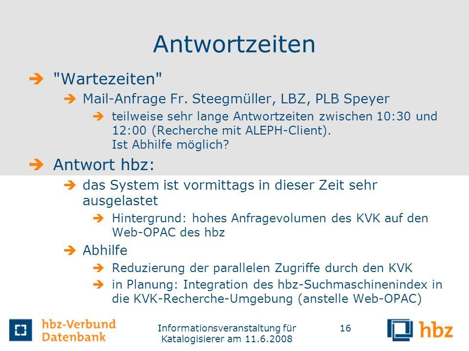 Informationsveranstaltung für Katalogisierer am 11.6.2008
