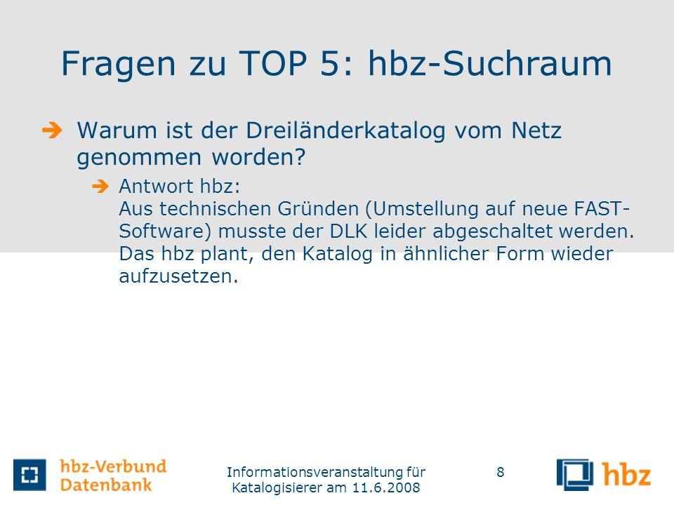 Fragen zu TOP 5: hbz-Suchraum