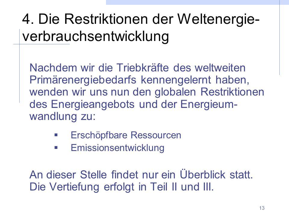 4. Die Restriktionen der Weltenergie-verbrauchsentwicklung