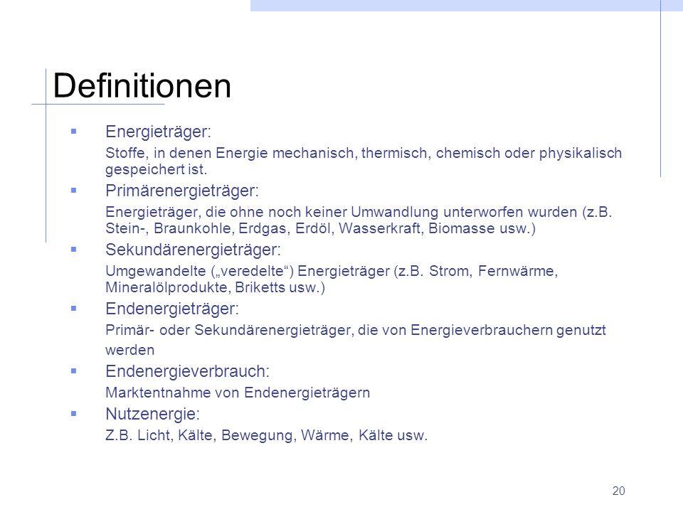 Definitionen Energieträger: Primärenergieträger: