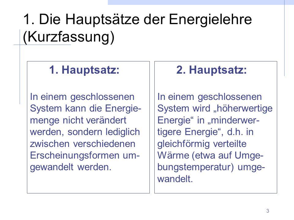 1. Die Hauptsätze der Energielehre (Kurzfassung)