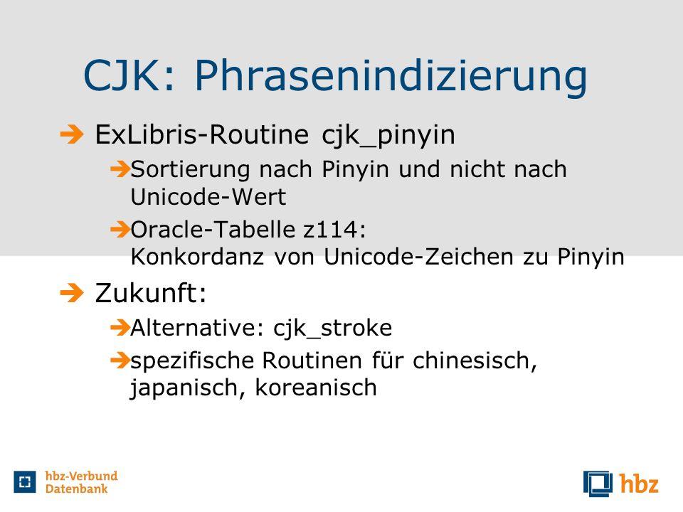 CJK: Phrasenindizierung