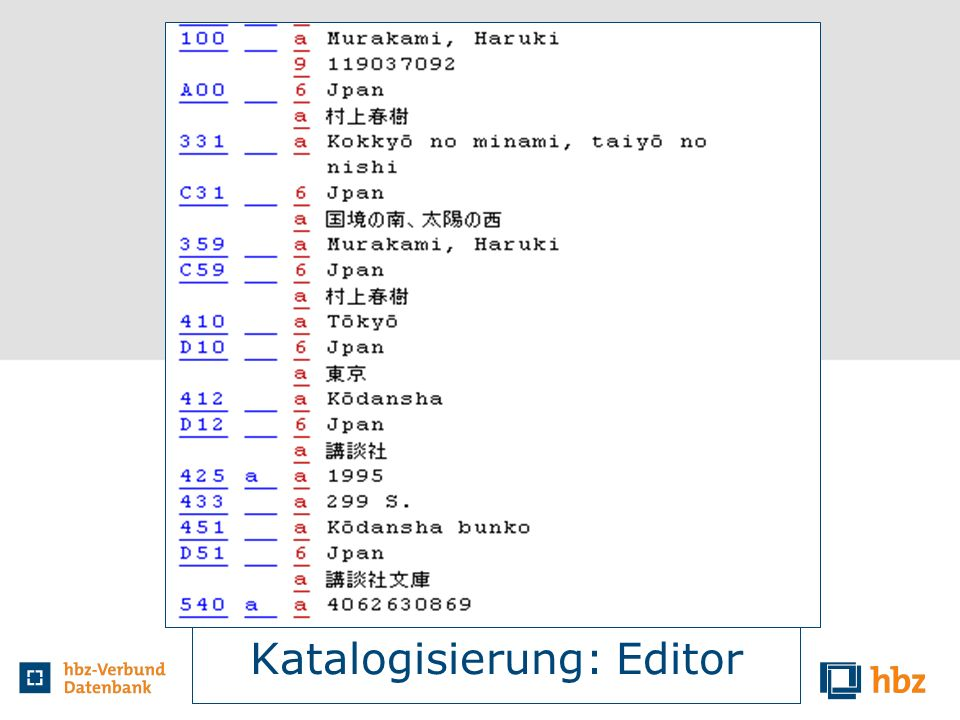Katalogisierung: Editor