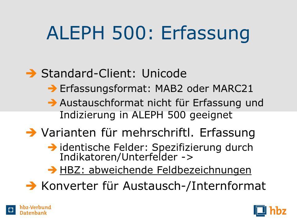 ALEPH 500: Erfassung Standard-Client: Unicode