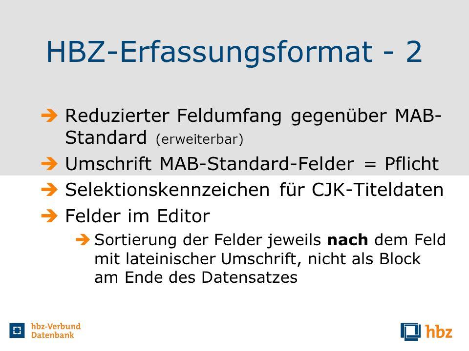 HBZ-Erfassungsformat - 2