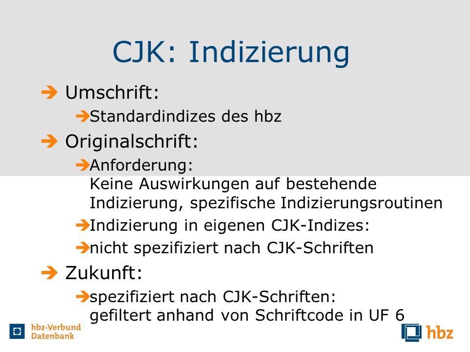 CJK: Indizierung Umschrift: Originalschrift: Zukunft: