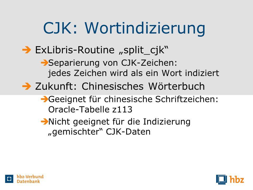 """CJK: Wortindizierung ExLibris-Routine """"split_cjk"""