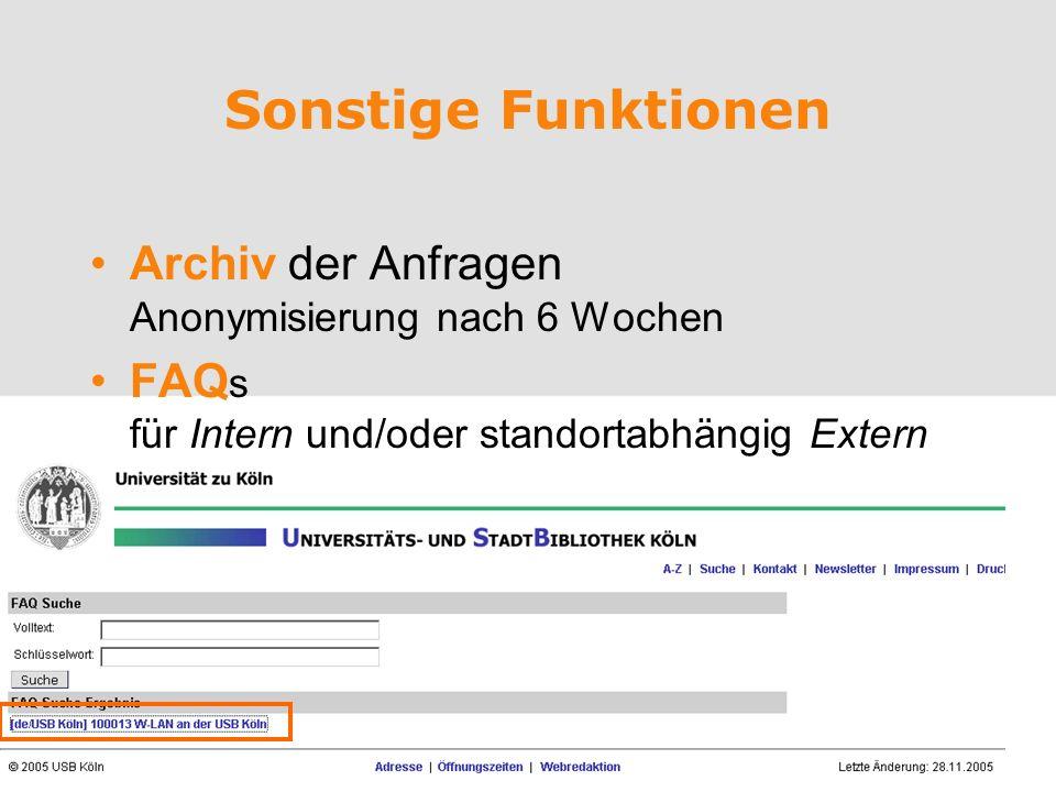 Sonstige Funktionen Archiv der Anfragen Anonymisierung nach 6 Wochen
