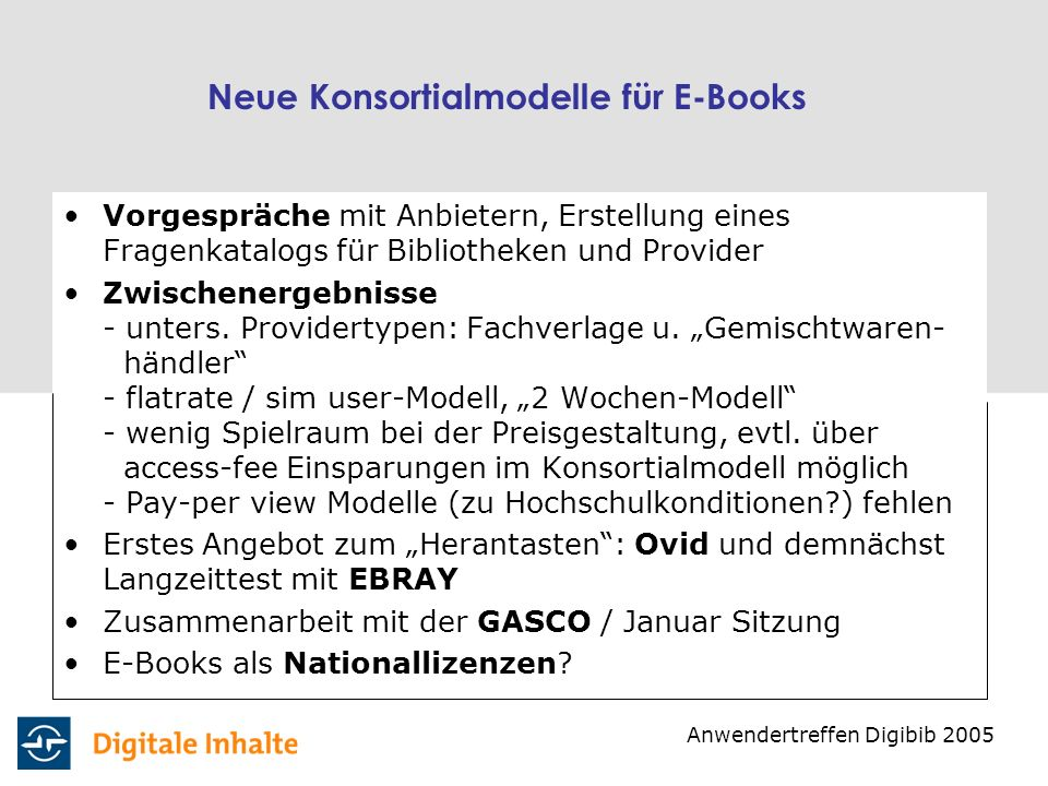 Neue Konsortialmodelle für E-Books