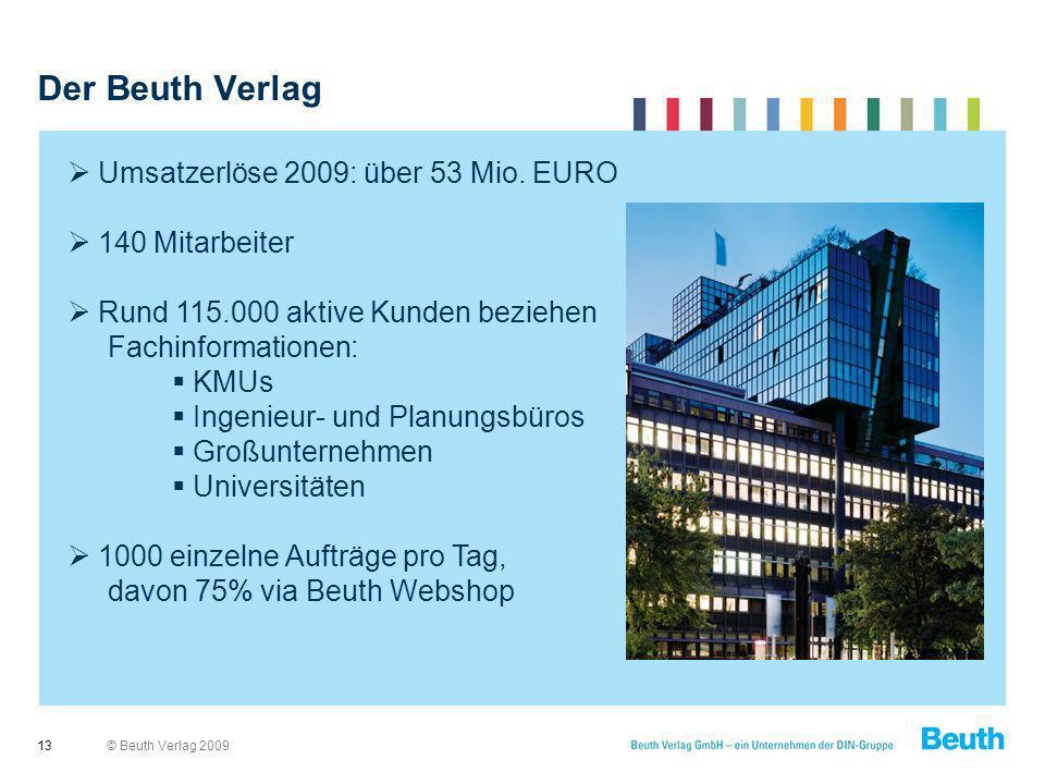 Der Beuth Verlag Umsatzerlöse 2009: über 53 Mio. EURO 140 Mitarbeiter