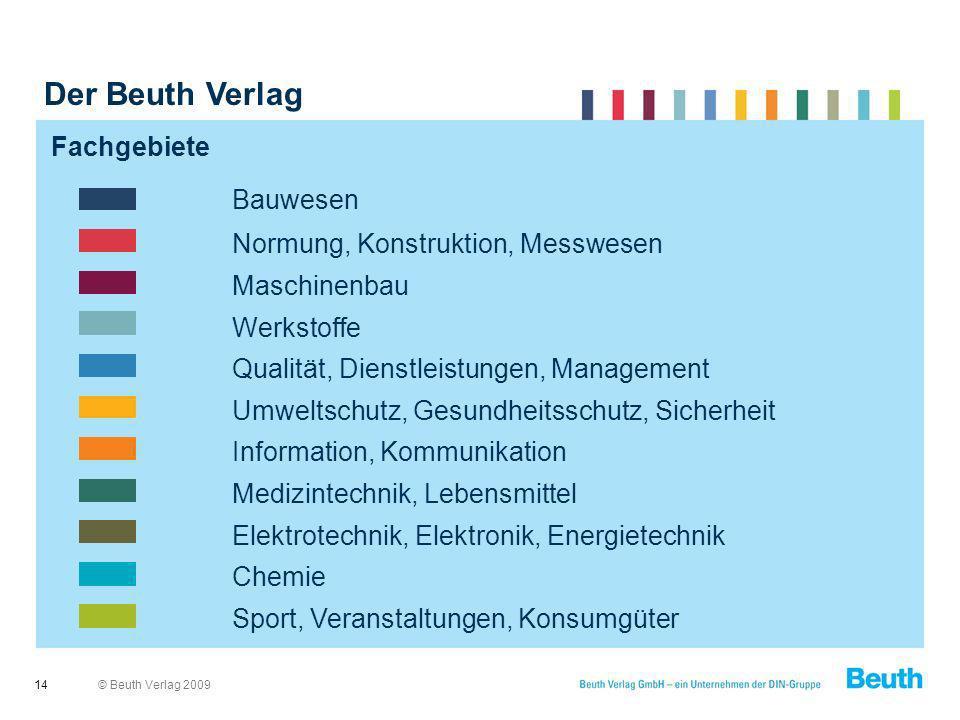 Der Beuth Verlag Bauwesen Normung, Konstruktion, Messwesen Fachgebiete