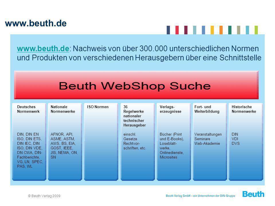 www.beuth.de www.beuth.de: Nachweis von über 300.000 unterschiedlichen Normen und Produkten von verschiedenen Herausgebern über eine Schnittstelle.