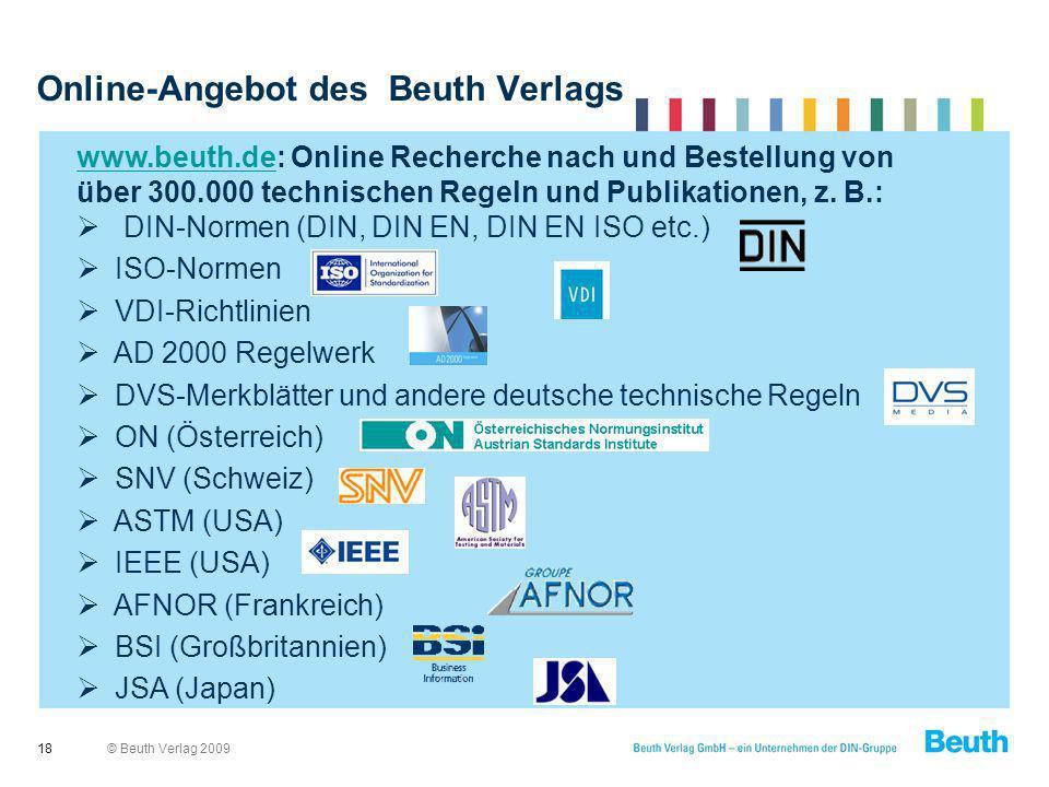 Online-Angebot des Beuth Verlags