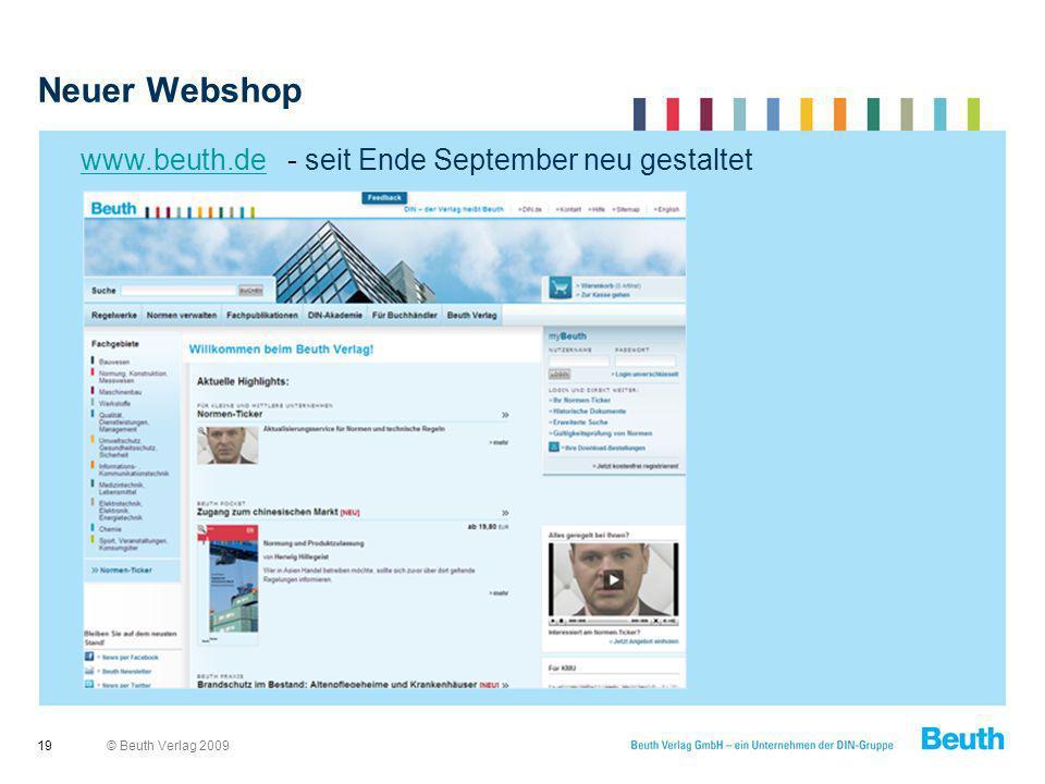 Neuer Webshop www.beuth.de - seit Ende September neu gestaltet 19