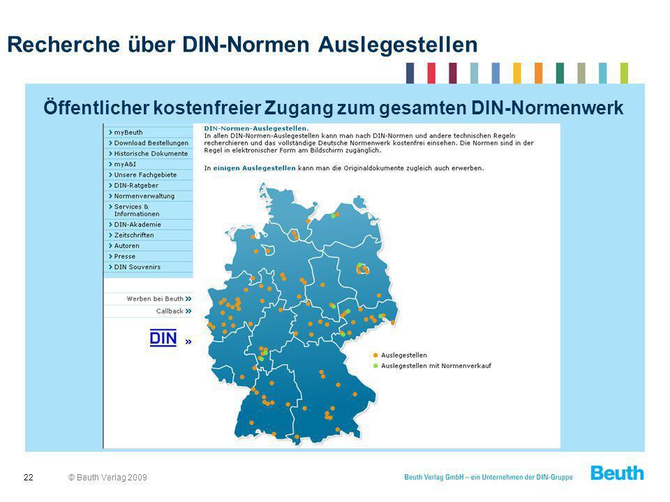 Recherche über DIN-Normen Auslegestellen