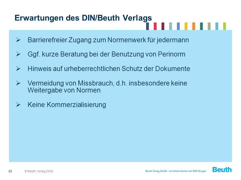 Erwartungen des DIN/Beuth Verlags
