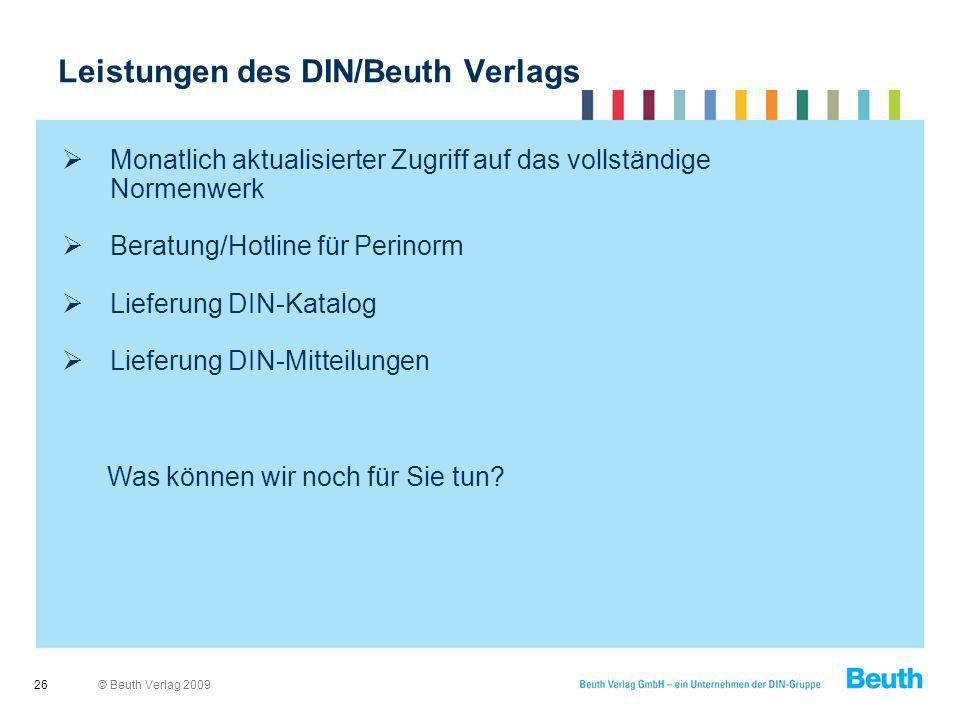 Leistungen des DIN/Beuth Verlags