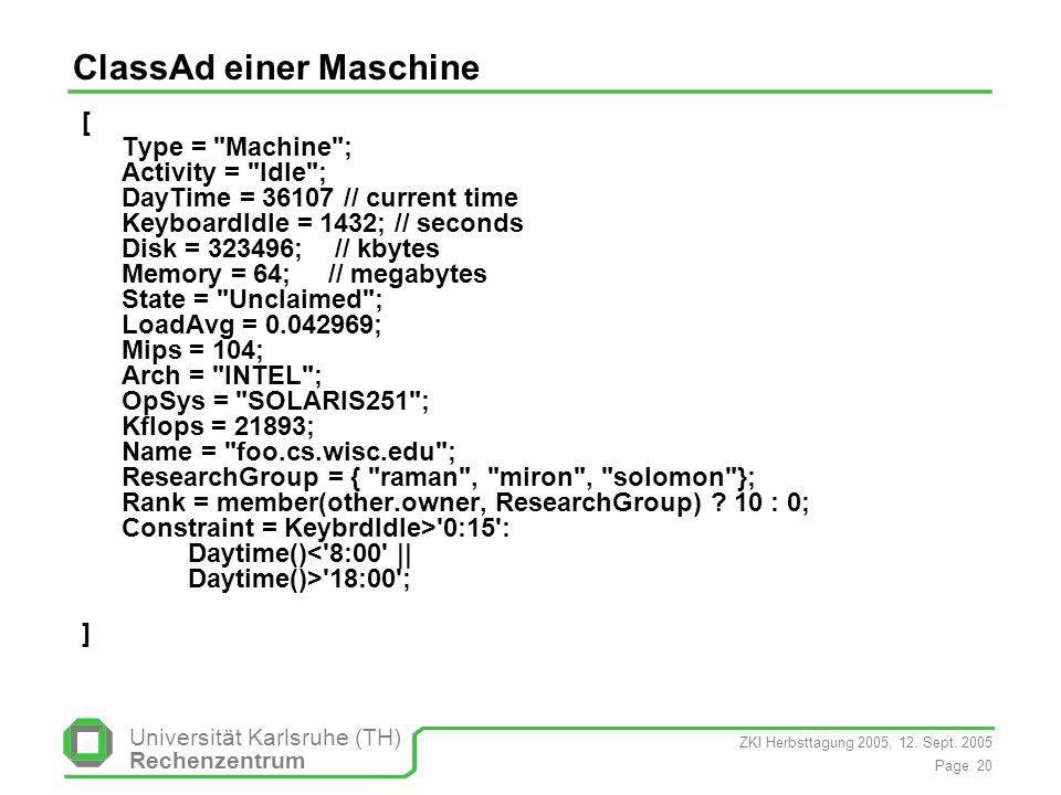 ClassAd einer Maschine