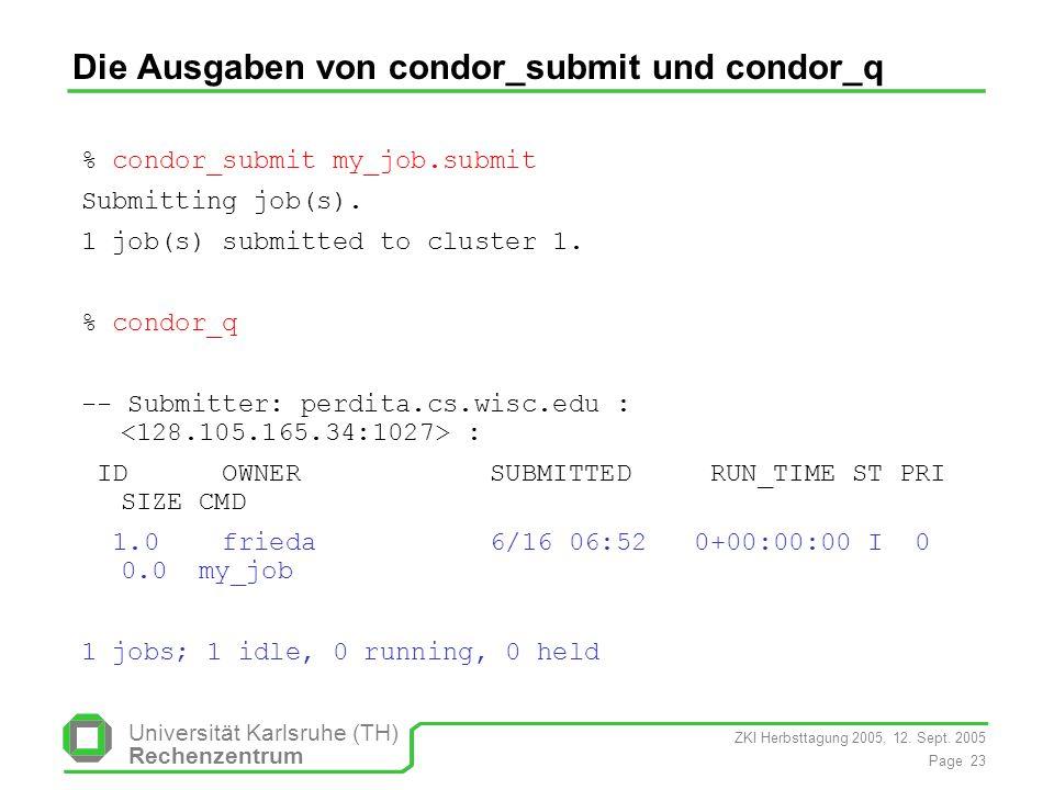 Die Ausgaben von condor_submit und condor_q