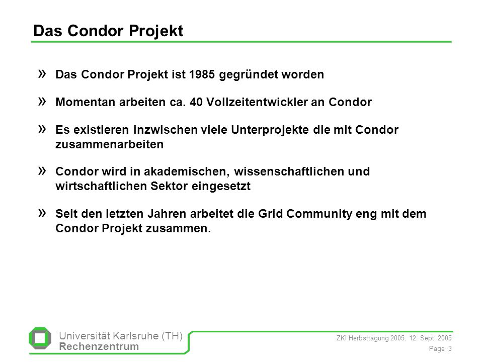 Das Condor Projekt Das Condor Projekt ist 1985 gegründet worden