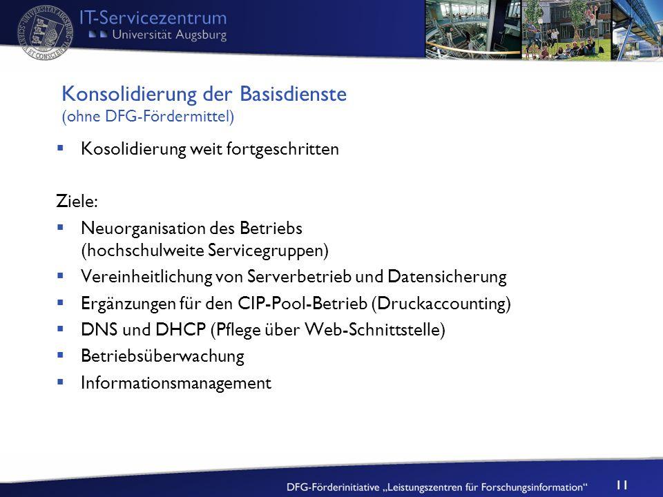 Konsolidierung der Basisdienste (ohne DFG-Fördermittel)