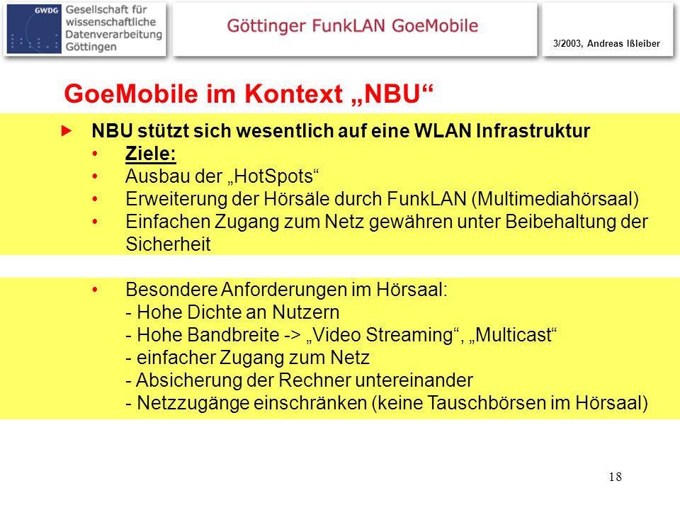 "GoeMobile im Kontext ""NBU"