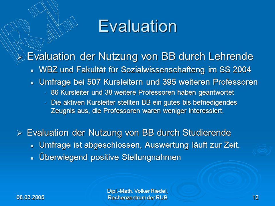Dipl.-Math. Volker Riedel, Rechenzentrum der RUB
