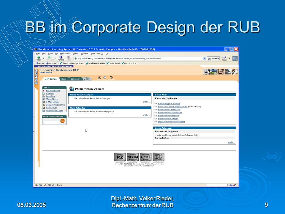 BB im Corporate Design der RUB