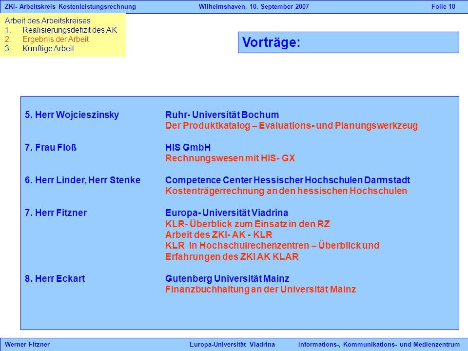 Vorträge: 5. Herr Wojcieszinsky Ruhr- Universität Bochum