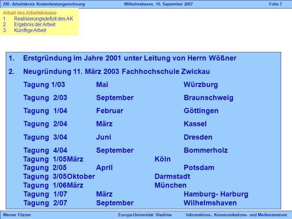 Erstgründung im Jahre 2001 unter Leitung von Herrn Wößner