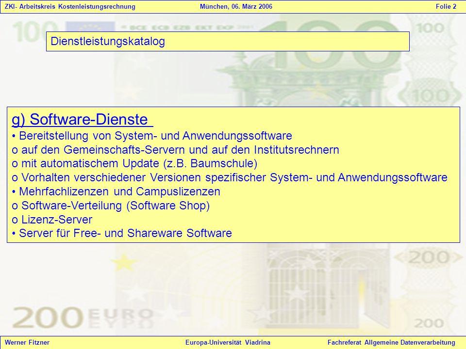 g) Software-Dienste Dienstleistungskatalog