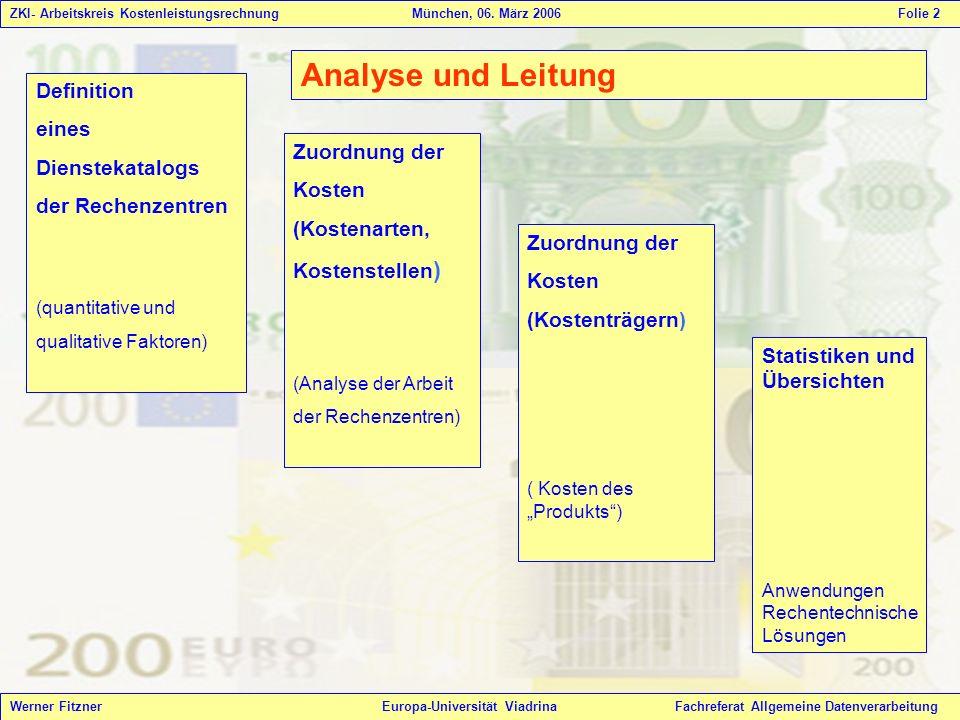 Analyse und Leitung Definition eines Dienstekatalogs der Rechenzentren