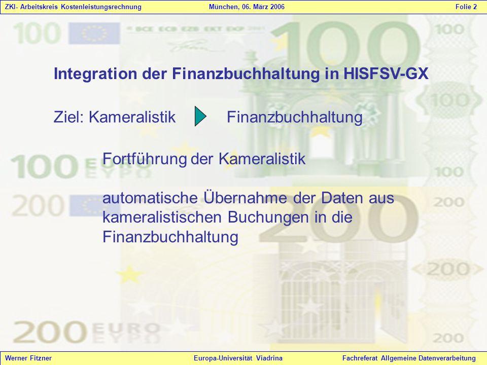 Integration der Finanzbuchhaltung in HISFSV-GX