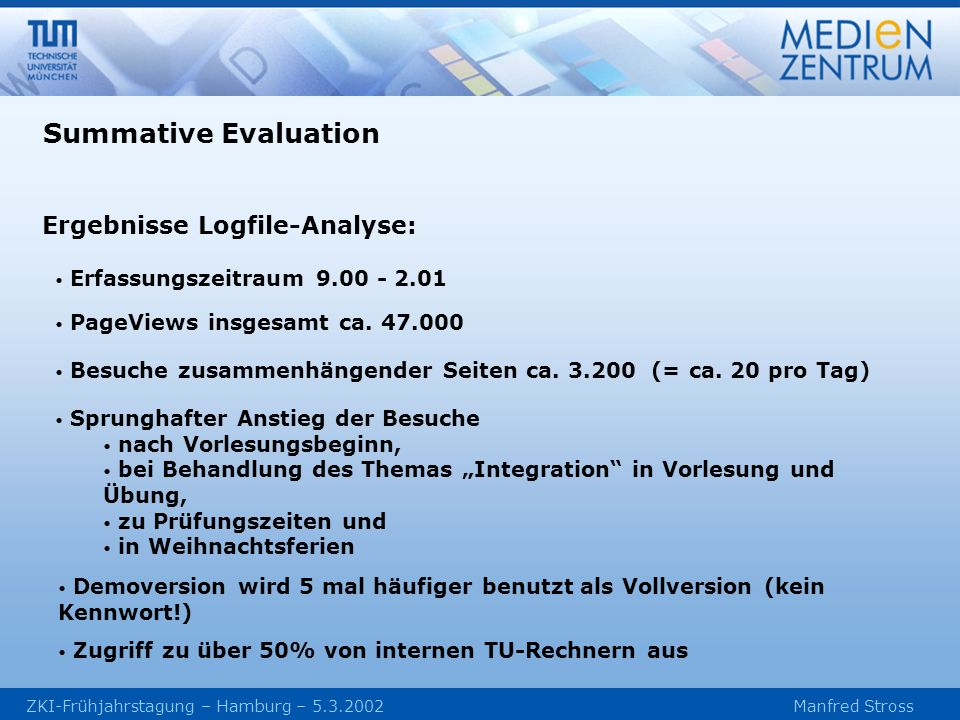 Summative Evaluation Ergebnisse Logfile-Analyse: