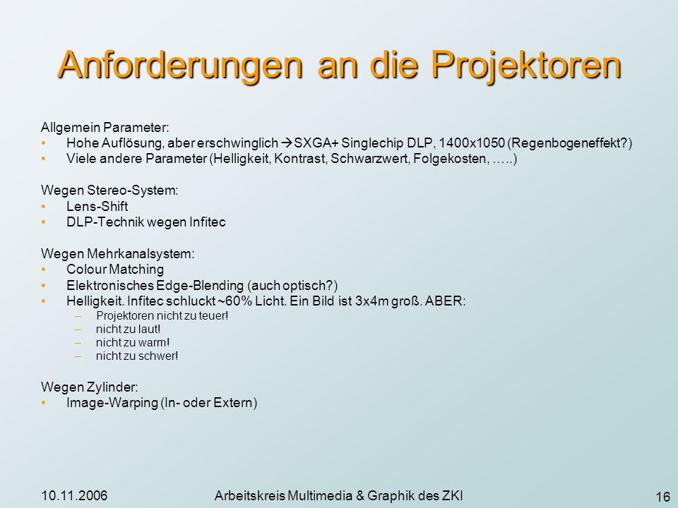 Anforderungen an die Projektoren