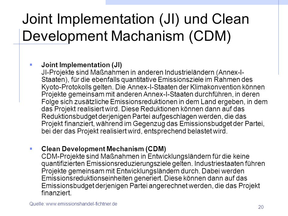 Joint Implementation (JI) und Clean Development Machanism (CDM)