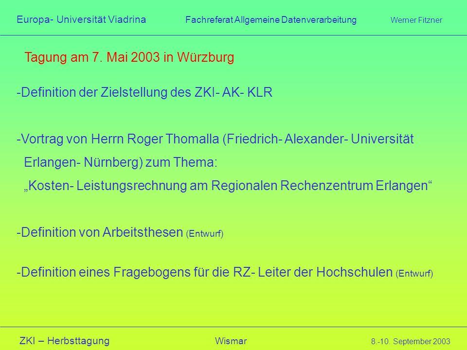 Tagung am 7. Mai 2003 in Würzburg