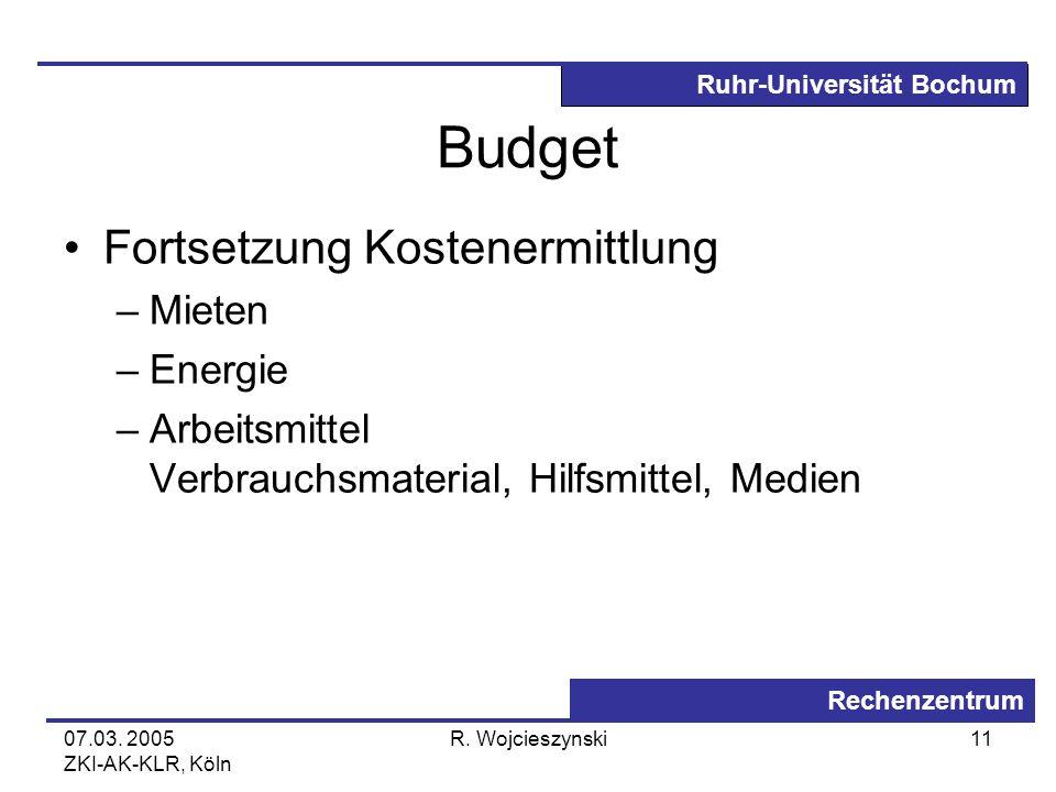 Budget Fortsetzung Kostenermittlung Mieten Energie