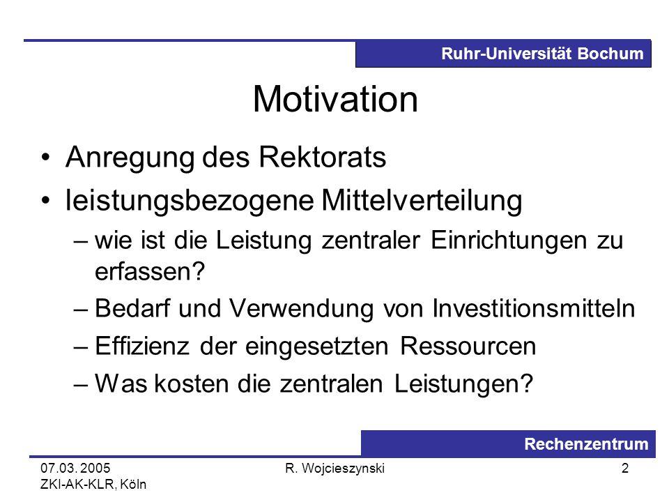 Motivation Anregung des Rektorats leistungsbezogene Mittelverteilung