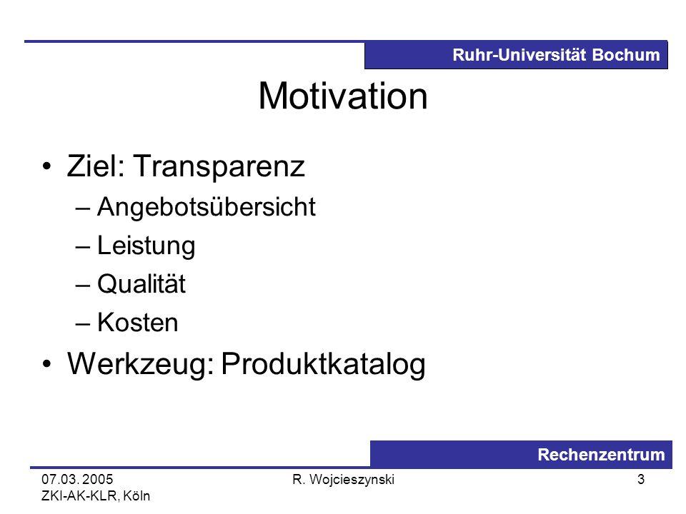 Motivation Ziel: Transparenz Werkzeug: Produktkatalog