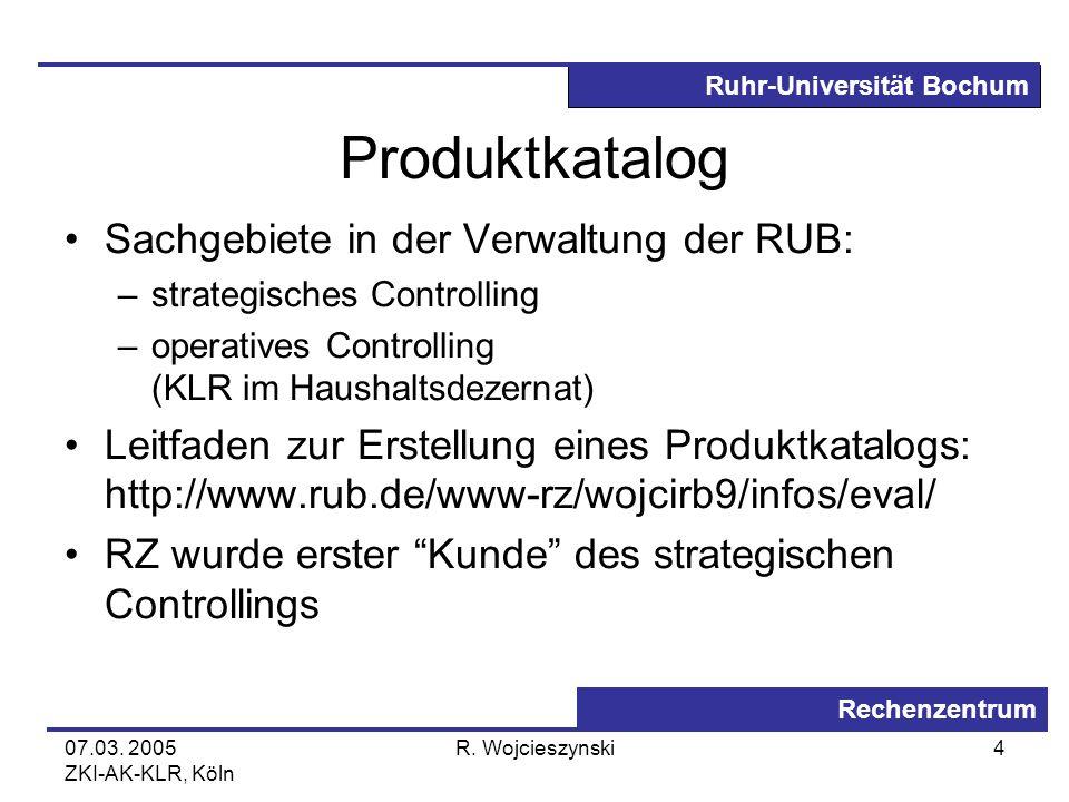 Produktkatalog Sachgebiete in der Verwaltung der RUB:
