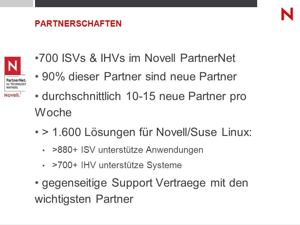 700 ISVs & IHVs im Novell PartnerNet