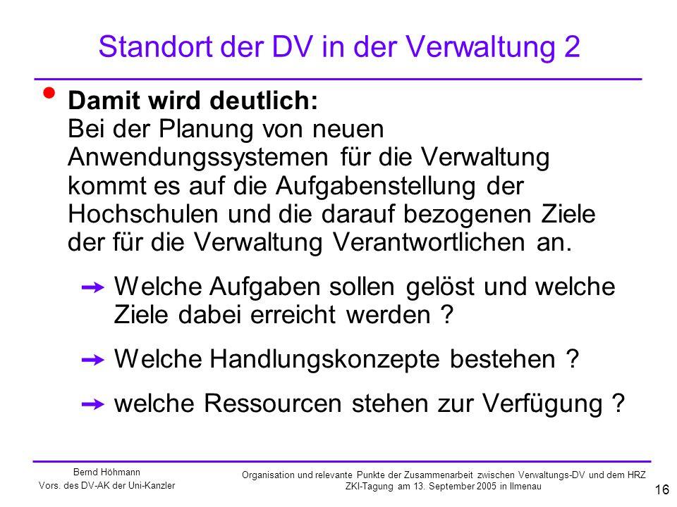 Standort der DV in der Verwaltung 2