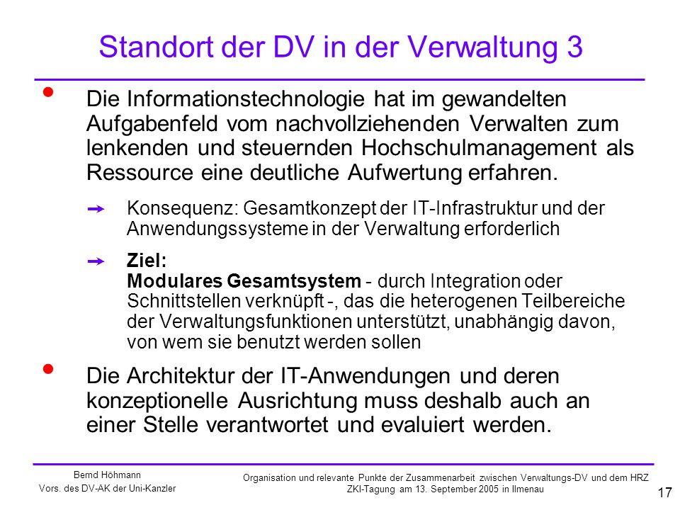 Standort der DV in der Verwaltung 3
