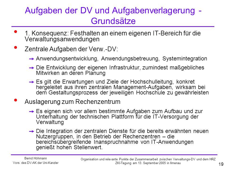 Aufgaben der DV und Aufgabenverlagerung - Grundsätze