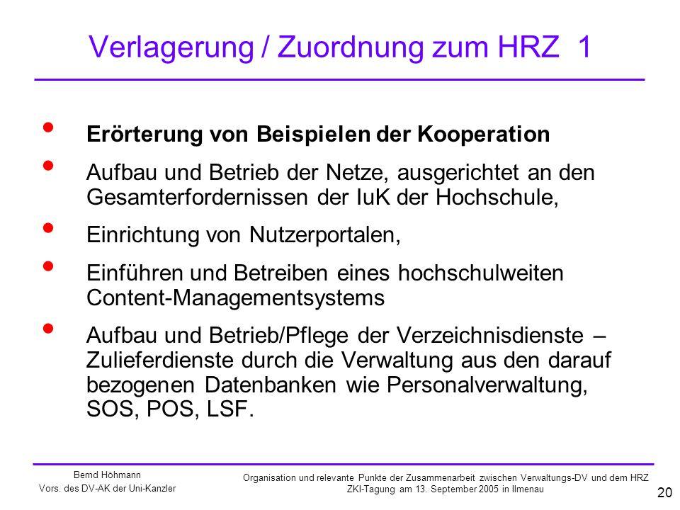 Verlagerung / Zuordnung zum HRZ 1