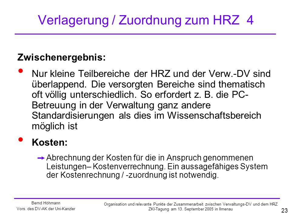 Verlagerung / Zuordnung zum HRZ 4