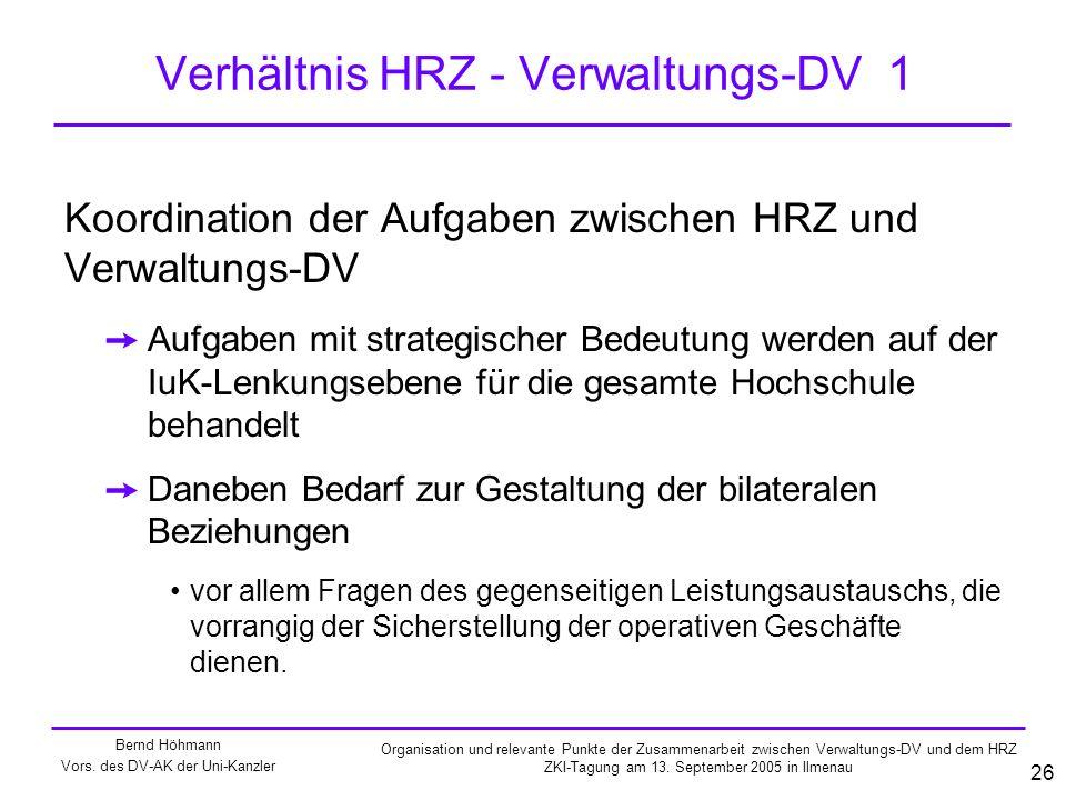 Verhältnis HRZ - Verwaltungs-DV 1