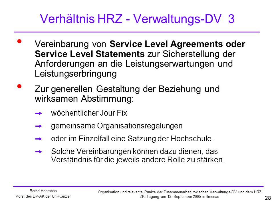 Verhältnis HRZ - Verwaltungs-DV 3
