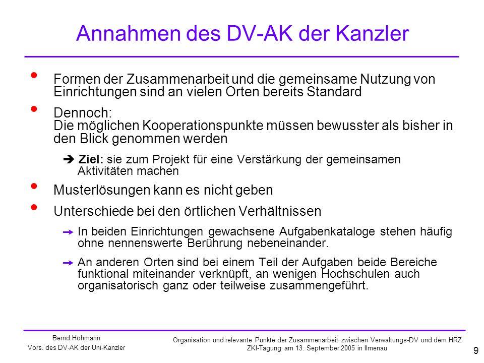 Annahmen des DV-AK der Kanzler